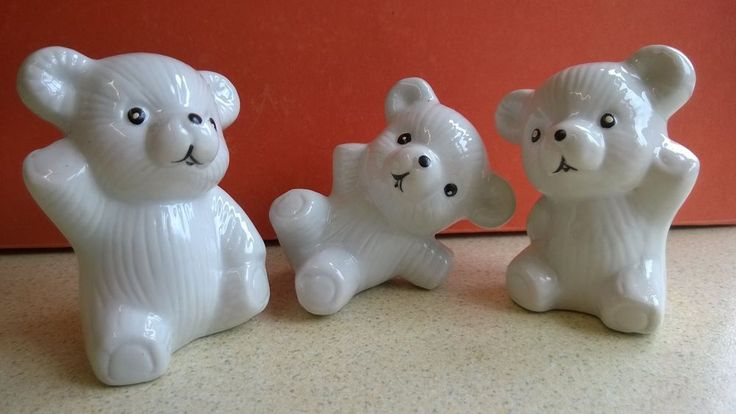 Three White Ceramic Bear Ornaments