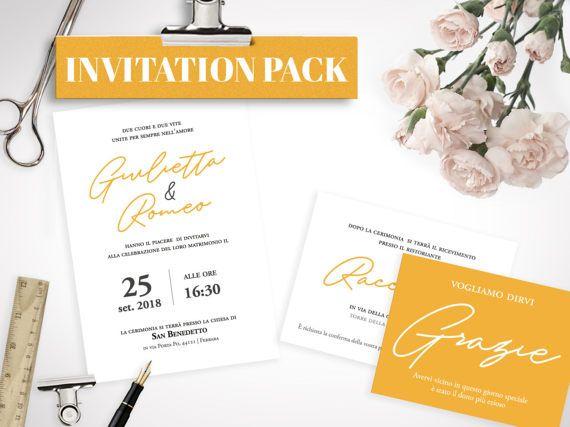 Kit Matrimonio Yellow Soul STAMPABILE di lolobottega su Etsy - Annuncio della cerimonia -  Invito al matrimonio con i dettagli della festa - Biglietto di ringraziamento - Nome tavolo - Menù - Segnaposto