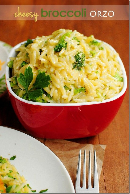Cheesy Broccoli Orzo. An easy, fast, and yummy side dish to make for dinner. - Click image to find more popular food & drink Pinterest pins