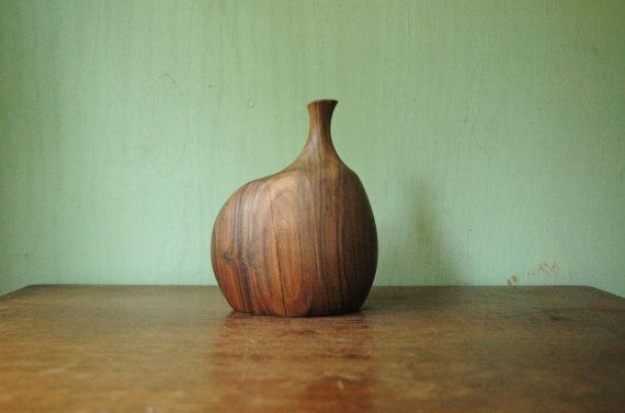 Doug Ayers Carved Wood Vase  Rare Mid Century Modern by JunkHouse
