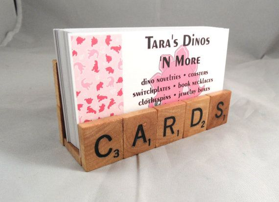 Scrabble Tiles Cards Business Card Holder Upcycled by tarasdinos, $12.00