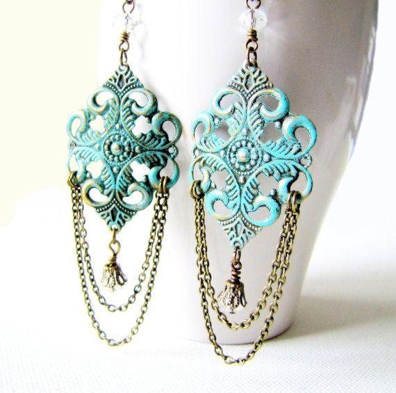 Boho or Victorian Style Chandelier Earrings by TwigsAndLace, $23.00