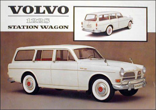 """1962 Volvo 122S station wagon 2-page color sheet original automobile literature"""