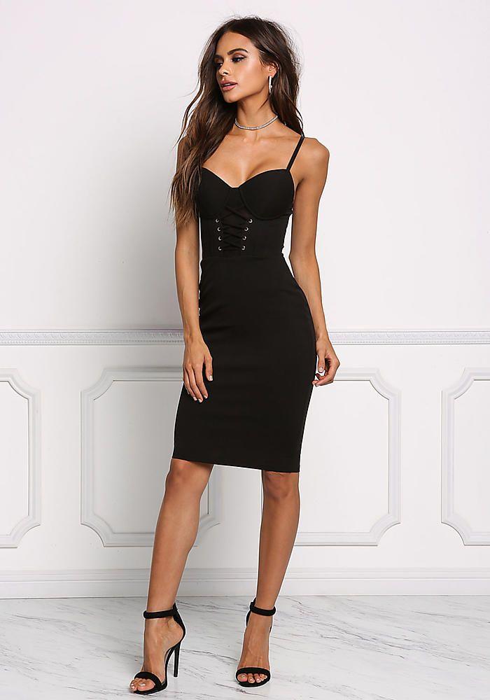 Black Bustier Lace Up Bodycon Dress - Dresses
