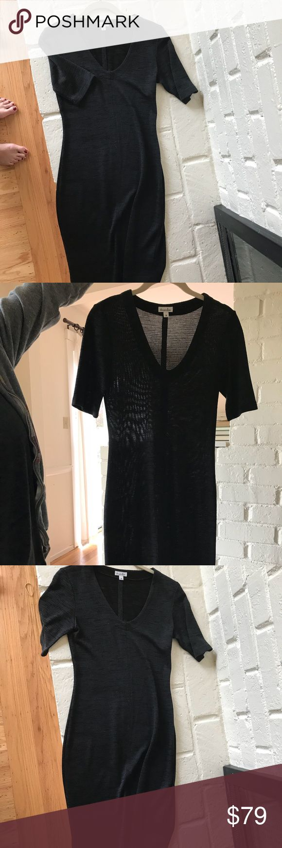 Steven Alan dress size small Fitted Steven Alan dress hits below knee.  Perfect with boots.  V-neck.  Sleeves hit right above elbow.  Color is black with very thin dark teal stripes.  Material is cotton blend. Steven Alan Dresses Midi
