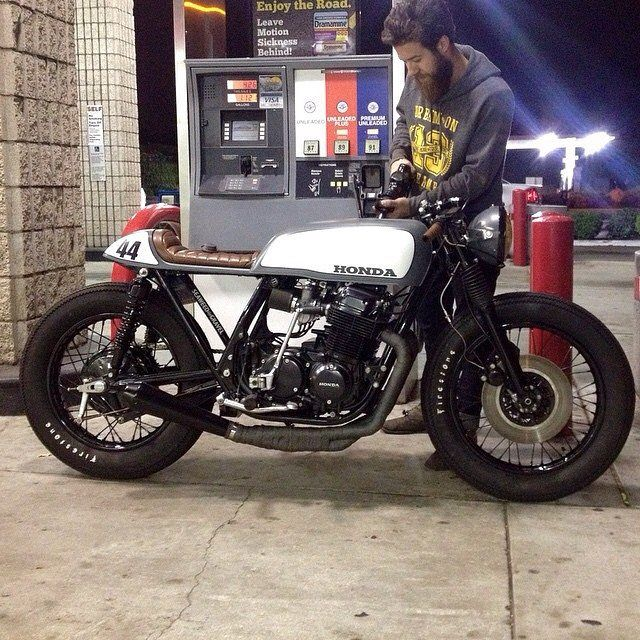 Honda caféracer. @jarreddearmas taking her out for a test run or two. #cb750 #seaweedandgravelgarage
