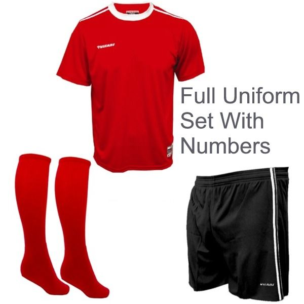 Vizari Velez-Campo Soccer Uniform Package - model V1ZUVC Red 30039/Royal 10092/Forest 20085/Royal Blue: PLEASE LIST ALL SIZES AND…