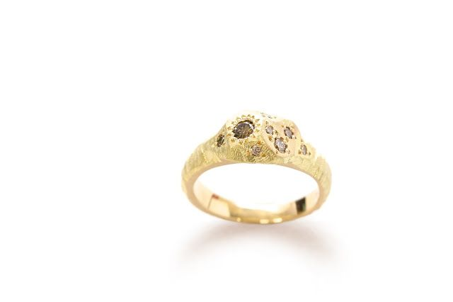 18ct yellow gold & Champagne Diamond Mountain Ring Special Commission Engagement ring. vikki kassioras contemporary jewellery