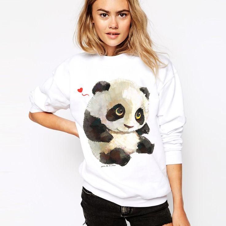 Panda Felpa Con Cappuccio Moda 2017 Casual Felpa Con Cappuccio da Donna Animal Print Manica Lunga Pullover Tuta O-Collo Moletom Bianco Hoody