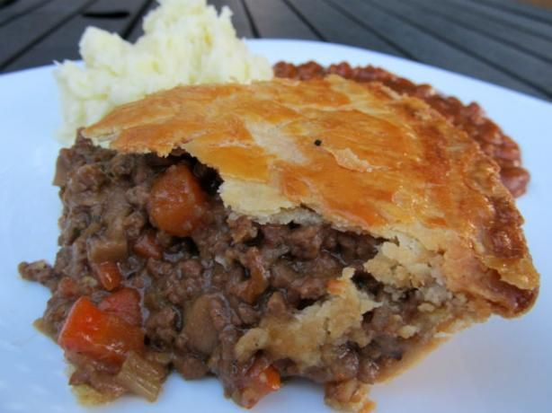 British Beef and Onion Pie.  Doubled the Worcestershire, used 1 14.5 oz can of broth, left out the celery and used regular ground mustard.  Next time I may omit the carrots too, but I used 12 baby carrots.