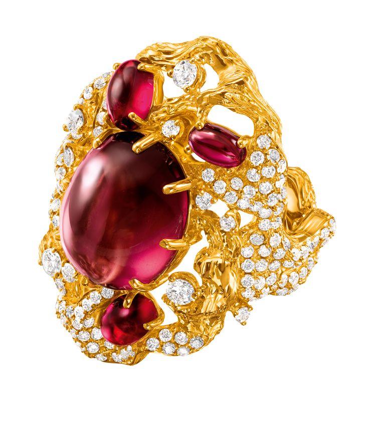 Chow Tai Fook, Chant necklace, red tourmaline, rubies, cognac diamond slices,