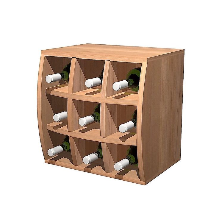 Wine Cellar Innovations Convex Curvy Wine Cube Rustic Pine Wood Wine Holder (unstained), Brown