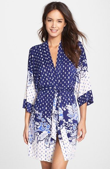 In Bloom by Jonquil 'Bandana Border' Short Robe available at #Nordstrom