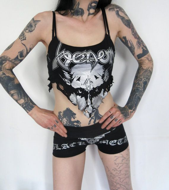 Venom Black Metal Cami Top & Shorts Set by HellCouture on Etsy