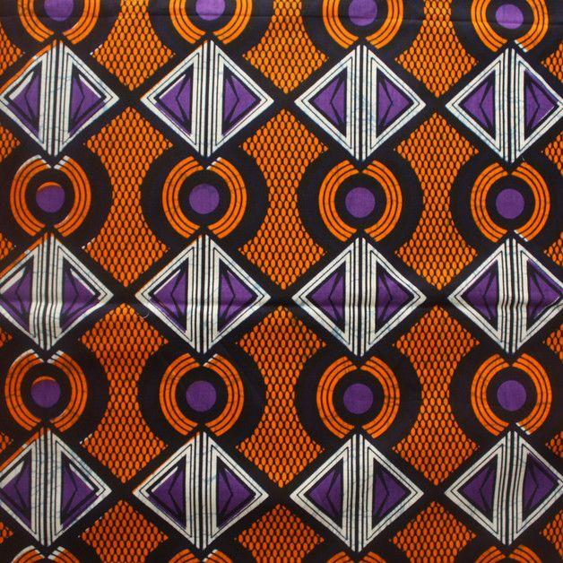 Tissus africains, tissu à motifs africain d'orange- 1 Yrd est une création orginale de urbanstax sur DaWanda