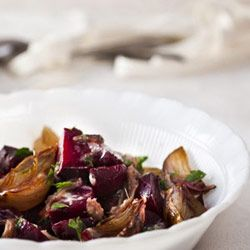 Beetroot with shallots and herb butter.  A delicious warm salad that is perfect for braai.