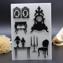 10x15cm Clear Stamp DIY Scrapbook Card Decoration vacation decor classic mirror chair clock candle transparent roller stamp(China (Mainland))