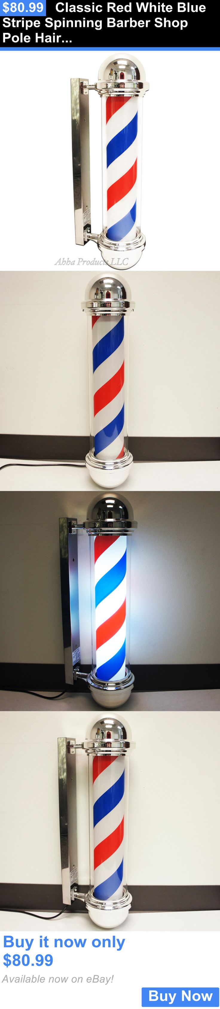 Other Salon and Spa Equipment: Classic Red White Blue Stripe Spinning Barber Shop Pole Hair Cutting Sign Light BUY IT NOW ONLY: $80.99