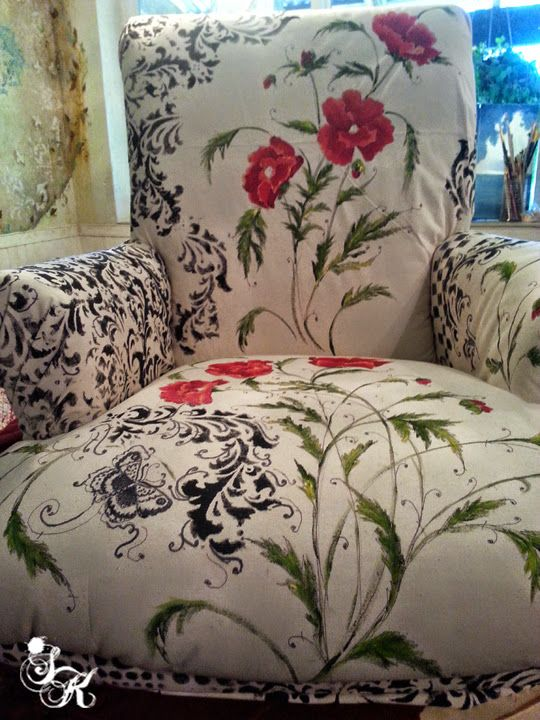 Hometalk :: Floral Hand Painted Fabric Chair  What a good idea!! Hmmmmmmm