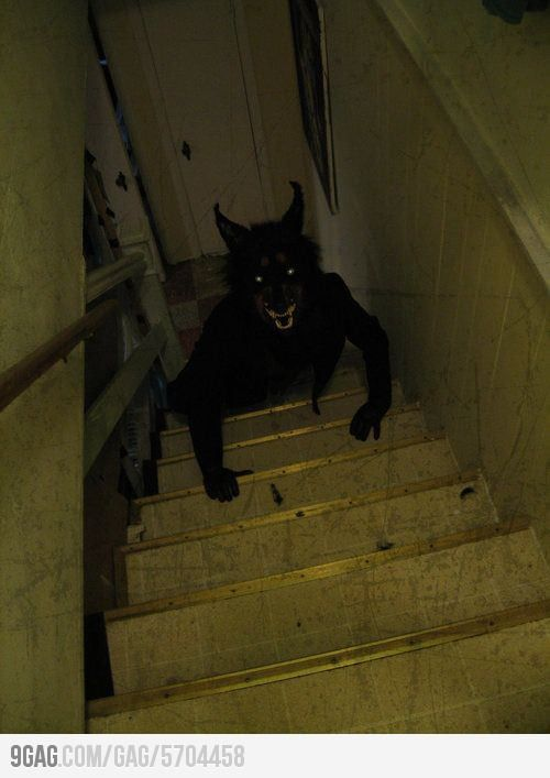 That's what appears at the bottom of dark stairs and it's why you have to run up as fast as humanly possible.