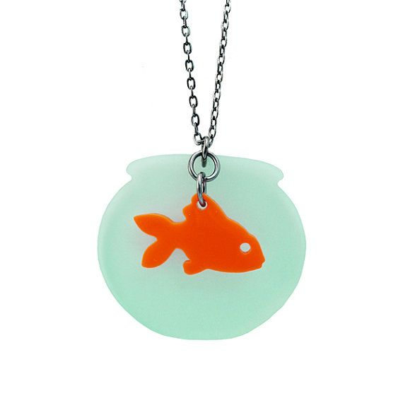 Fishbowl with orange goldfish swimming on a chain pendant necklace / sea animals jewelry / laser cut and handmade