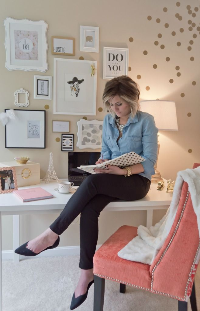 Lydia Lynn's Polka-dotted and Cheerful Home Office {Office Tour} Pretty Workspace | Home Office Details | Ideas for #homeoffice | Interior Design | Decoration | Organization | Architecture | White Desk |