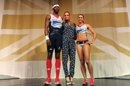 British athletes triple jumper Phillips Idowu (L) and heptathlete Jessica Ennis (R) pose with designer Stella McCartney (C)in the Olympic Team GB kit she designed.