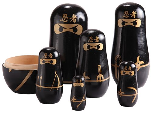 Heeeee Ya! These ninja warriors by Tigeroy Kids are a force to be reckoned with!  Six expertly crafted & painted wooden war lords. Ferocious nesting dolls ready to spring to battle. Fearsome fighters... and armed with elite ancient weaponry... looks along have enemies fleeing. Display all six samurais or hide them in one another for that element of kamikaze surprise.