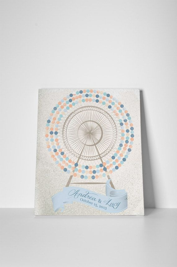 wedding Guestbook Ferris wheel on canvas 220 sign . Customize number of signatures and colors. Colours: peach and light blue.