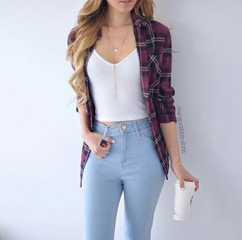 Every day outfit! High waisted light blue jeans White crop top Red flannel
