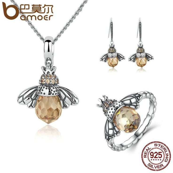 BAMOER 100% 925 bijoux en argent Sterling Set belle Orange Bee animaux ensembles de bijoux de mariage anniversaire ensembles de bijoux de mariée
