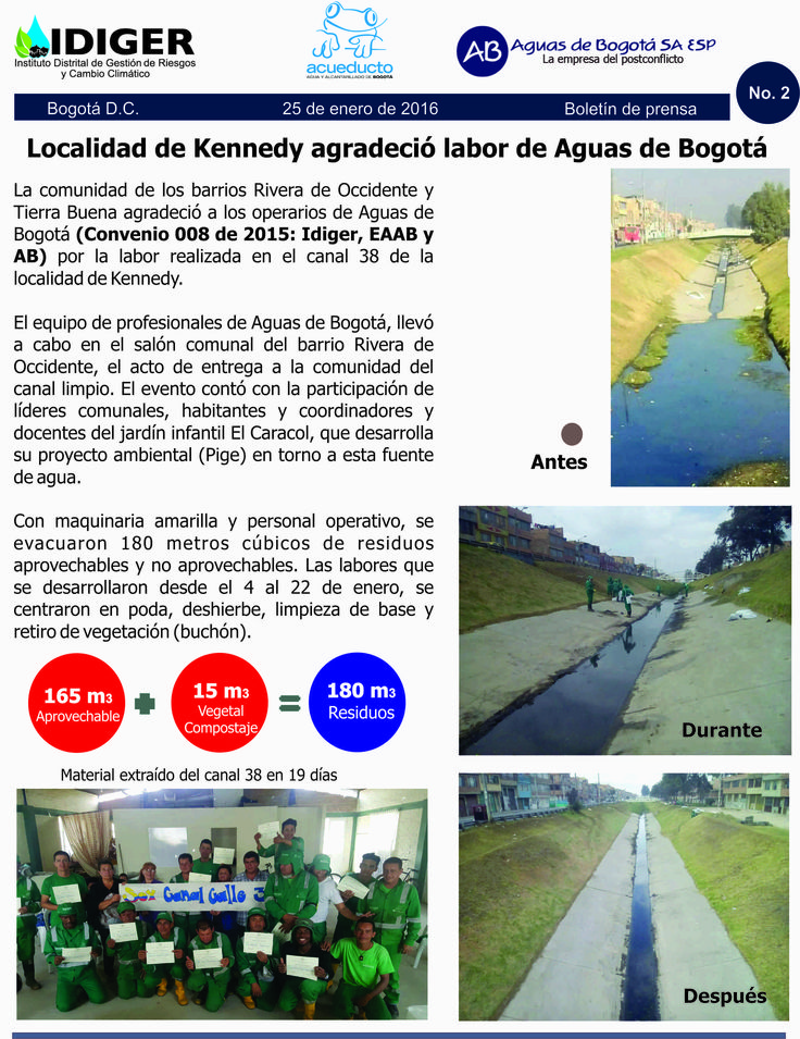 Localidad de Kennedy agradeció labor de Aguas de Bogotá.