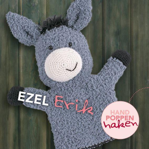Ezel Erik uit mijn boek Handpoppen haken #haken #haakpatroon #gehaakt #amigurumi #knuffel #gehaakt #crochet #häkeln #cutedutch