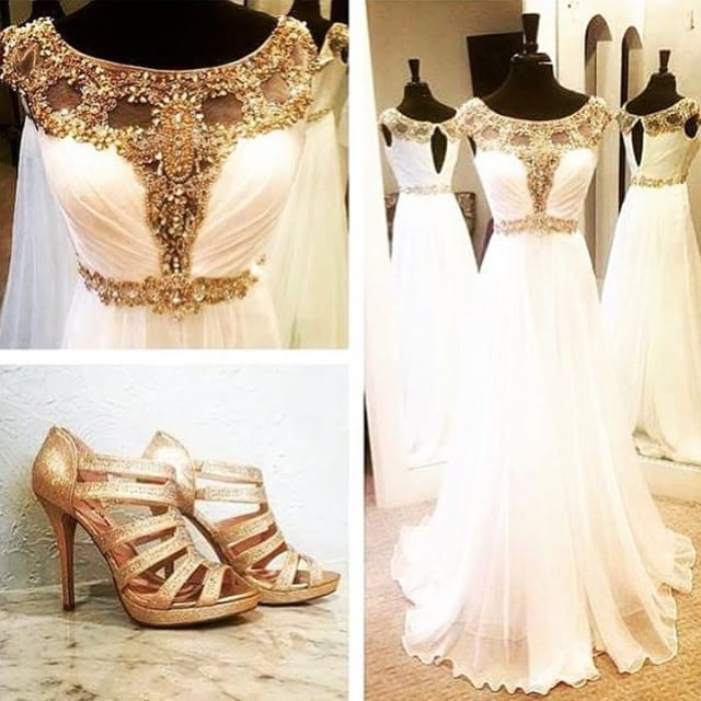 white chiffon crystals prom dress