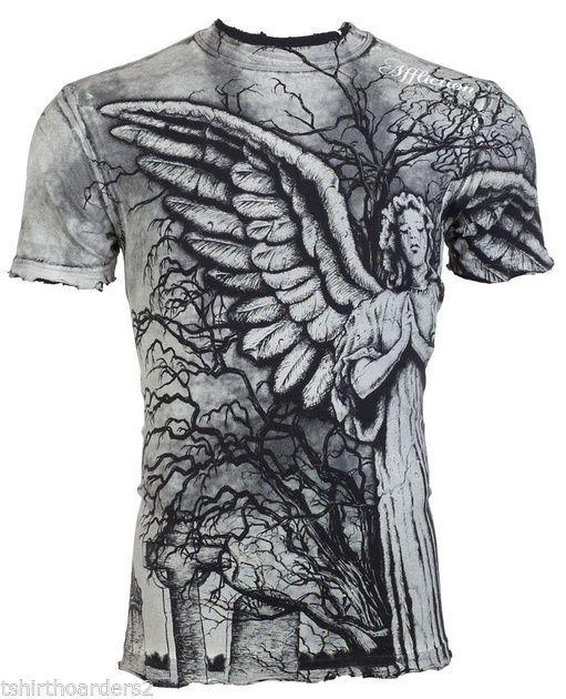 details about affliction mens t shirt grave angel tattoo fight biker mma ufc vtg s 4xl 62 a. Black Bedroom Furniture Sets. Home Design Ideas