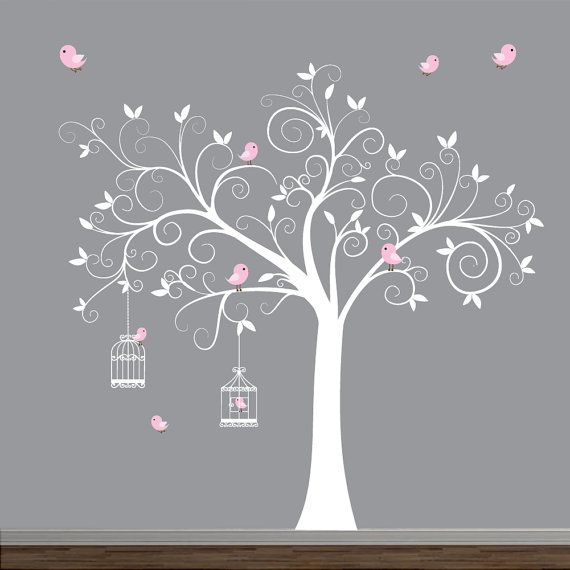 Wall Decal Tree with Birdcages Birds-Baby Wall by Modernwalls