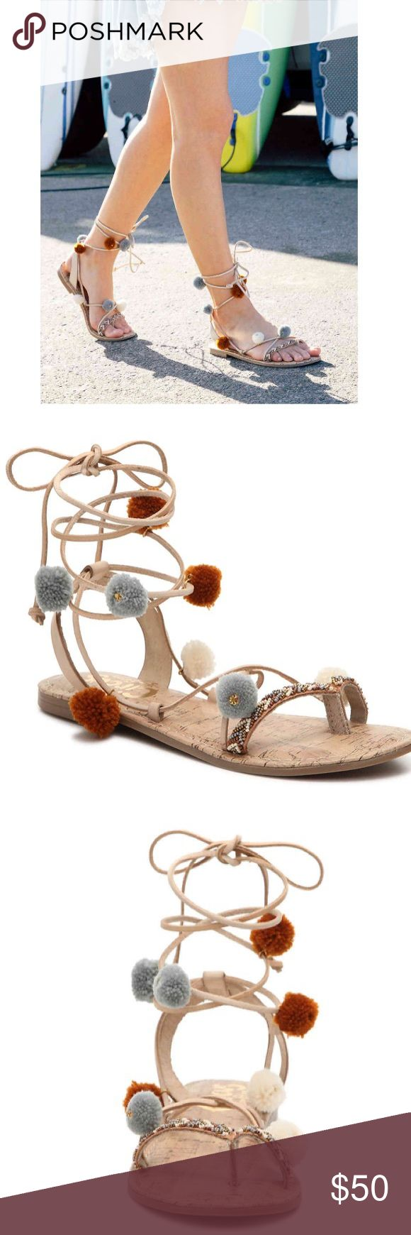 Circus Pom Poms For the perfect flat sandal to go with all your summer essentials, check out the Valencia thong sandals from Circus by Sam Edelman. With fun pom accents and beaded detailing, these cute lace-up sandals will add a boho flair to your casual look! Faux leather upper Ghillie lace-up with wrap around ankle tie Chevron patterned beading and pom accents Synthetic sole brand new in box🚭🚫🐱🚫🐶🏡 Circus by Sam Edelman Shoes Sandals