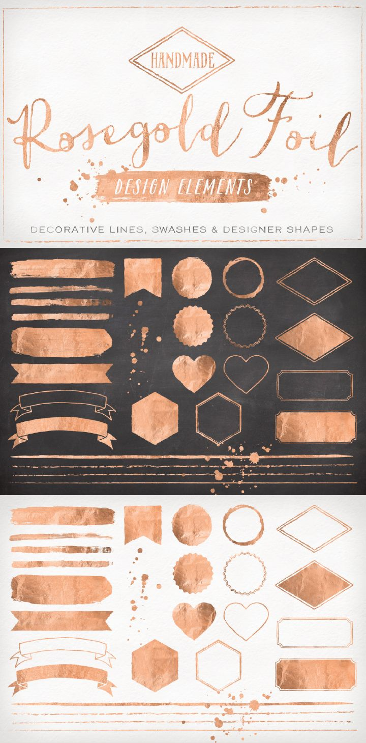 Add A bit of ROSE GOLD beauty & elegance to your designs with this lovely kit of useful designer elements! These look great on white as well as dark backgrounds.