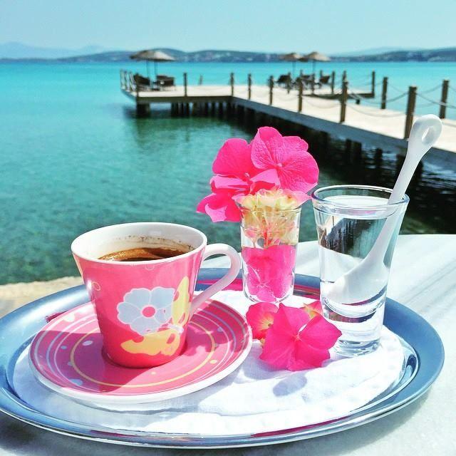 Открытки с добрым утром море и кофе, ире днем