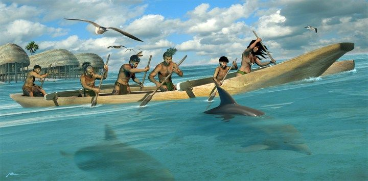 Calusa dugout canoe with outrigger at Russell Key, Florida by Hermann Trappman