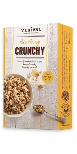 HONEY CRUNCHY: Crunchy clusters of oats and rice crispies, sweetened with honey and Austrian beet sugar and toasted and mixed to perfection by hand in the Austrian Tyrol. Deliciously biscuity and 100% organic