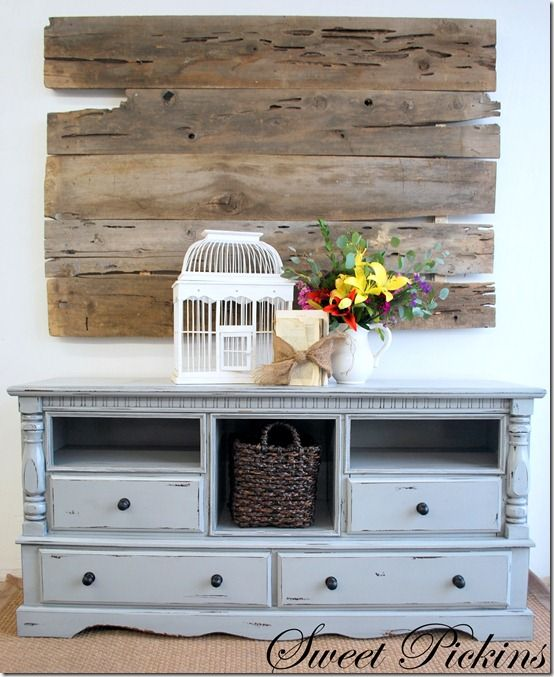 Thinking about doing this with a old dresser of mine. Love that gray blue paint too...