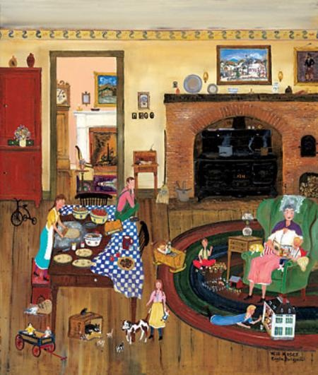 "Another Will Moses piece. ""Visiting Grandma"". I have this one in our dining room."