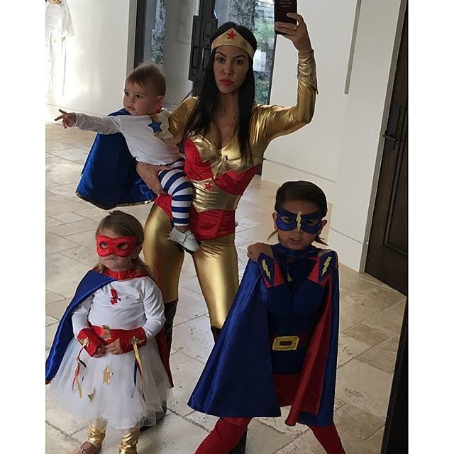 Pin for Later: The Best Celebrity Family Halloween Costumes Kourtney Kardashian and Her Kids as Superheroes