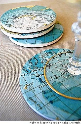 Map Coasters. Definitely have to make these for my travel themed room.