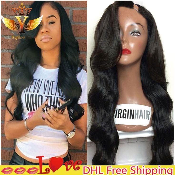 7A non trasformati vergine peruviana u parte parrucca dell'onda del corpo u parte umano capelli parrucche con la frangetta laterale sinistra laterale upart parrucche per le donne nere
