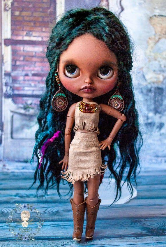 Custom OOAK African ethnic Blythe doll with mohair…