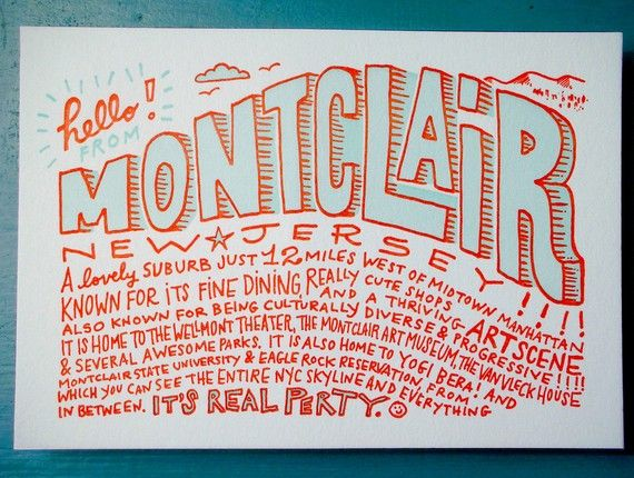 33 best montclair nj images on pinterest jersey girl area hello from montclair nj postcard by smithletterpress except for landmarks this does not describe negle Gallery