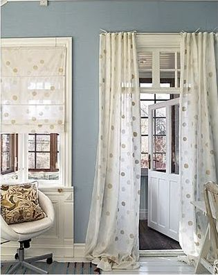 Soft polka dot sheer curtains - love for the den closet in place of the closet door