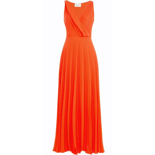 Cédric Charlier Pleated Maxi Skirt ($460) ❤ liked on Polyvore featuring dresses, gowns, skirts, maxi dresses, red, fitted maxi skirt, orange maxi skirt, long pleated maxi skirt, red evening gowns and long chiffon maxi skirt